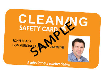 Commercial Cleaning safety card valid for 12 months